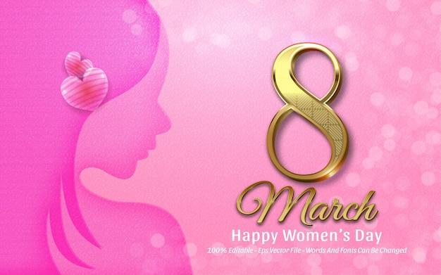 Effetto di testo modificabile, illustrazioni in stile marzo happy women della bella donna