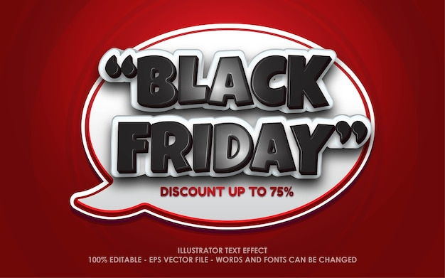 Effetto testo modificabile, illustrazioni in stile black friday