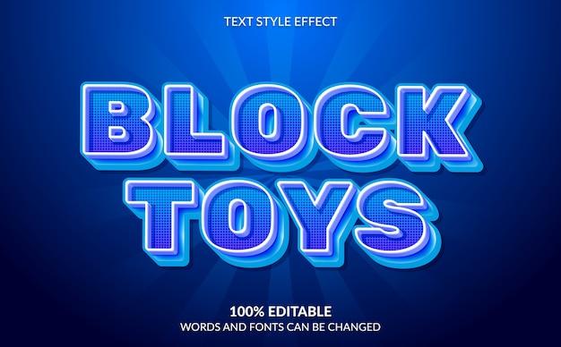 Effetto di testo modificabile, stile di testo di giocattoli a blocchi