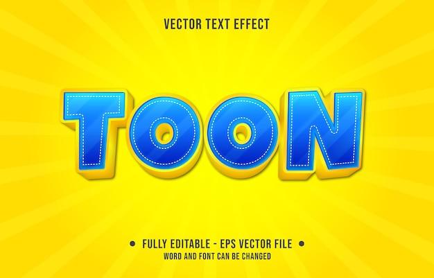 Effetto di testo modificabile: toon blu e stile di colore sfumato giallo