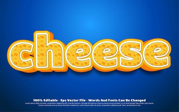 Effetto di testo modificabile, illustrazioni in stile formaggio