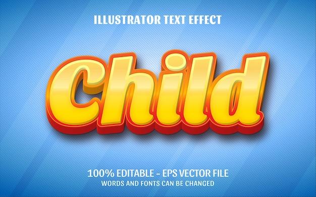 Effetto di testo modificabile, illustrazioni in stile bambino