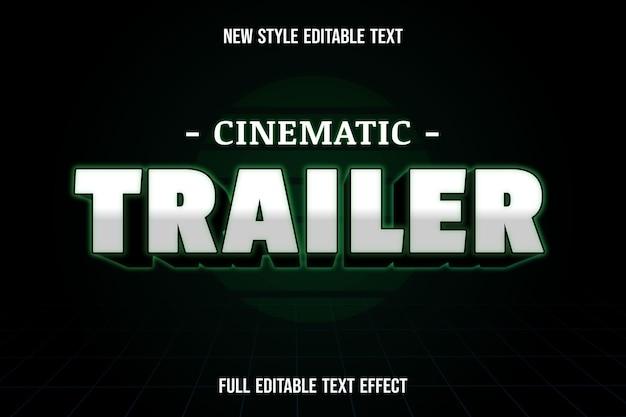 Colore del trailer cinematografico con effetto di testo modificabile bianco nero e verde