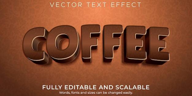 Effetto di testo modificabile, caffè e stile di testo marrone