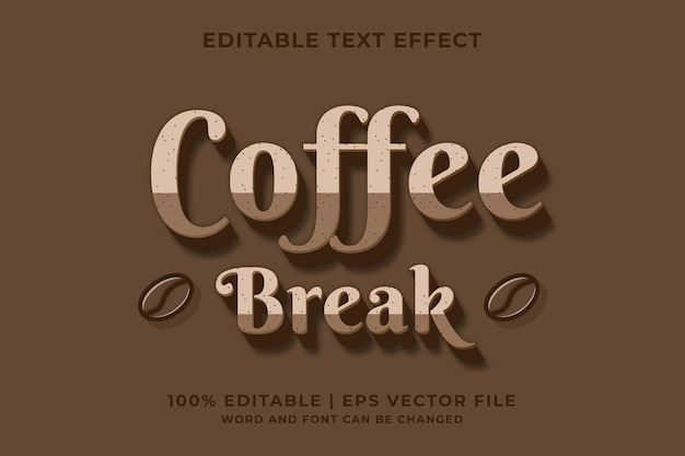 Stile di testo color caffè effetto testo modificabile vettore premium