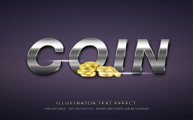 Effetto di testo modificabile stile moneta