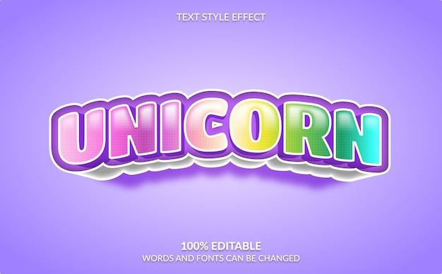 Effetto di testo modificabile, stile di testo colorato unicorno