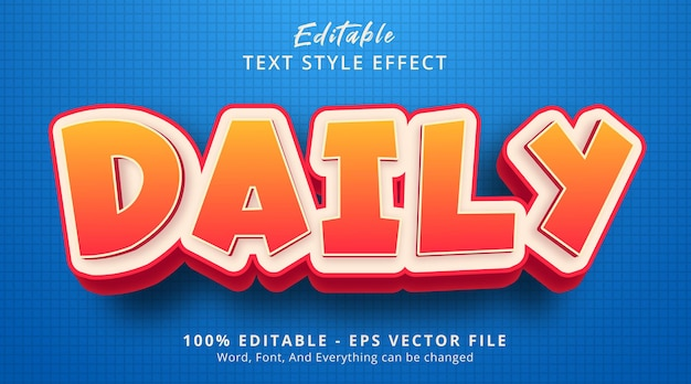 Effetto testo modificabile, testo giornaliero su effetto stile cartone animato