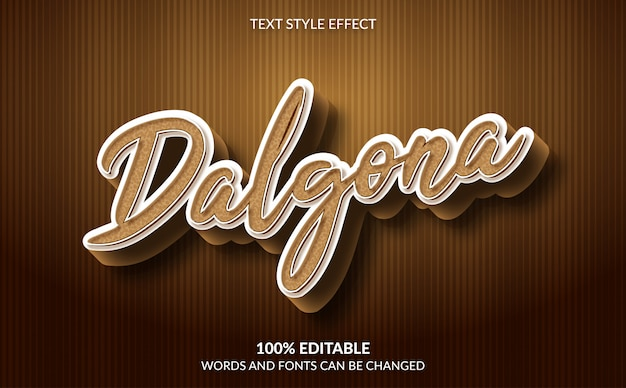 Effetto di testo modificabile, stile di testo dalgona coffee
