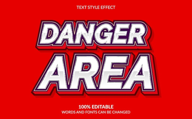 Effetto di testo modificabile, stile di testo dell'area di pericolo