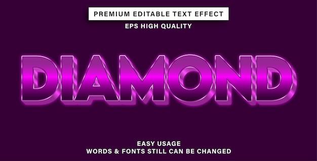 Effetto di testo modificabile diamante