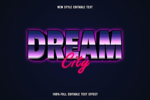 Città da sogno con effetto testo modificabile in viola e rosa