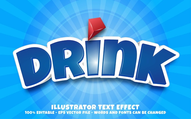 Effetto di testo modificabile, illustrazioni in stile drink