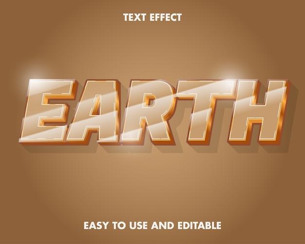 Effetto testo modificabile - earth word. facile da usare e modificabile. illustrazione vettoriale premium