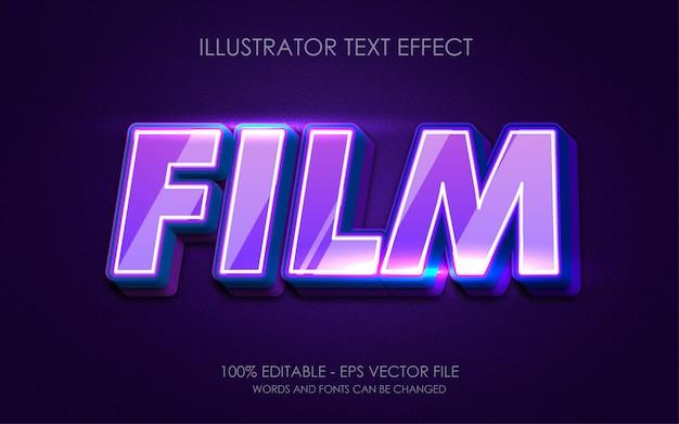 Effetto di testo modificabile, illustrazioni in stile film