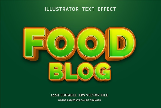 Effetto testo modificabile food blog style