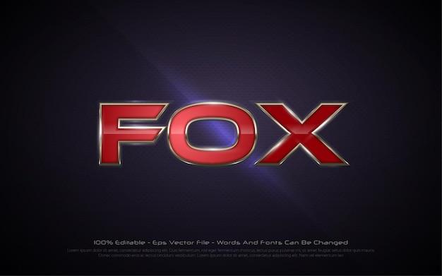 Effetto di testo modificabile, illustrazioni in stile fox