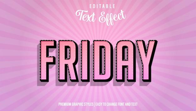 Effetto di testo modificabile, stile di carattere grassetto forte di venerdì