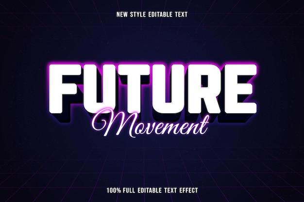 Testo modificabile effetto movimento futuro colore bianco viola blu e nero
