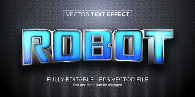 Effetto testo modificabile stile futuristico robot metallico