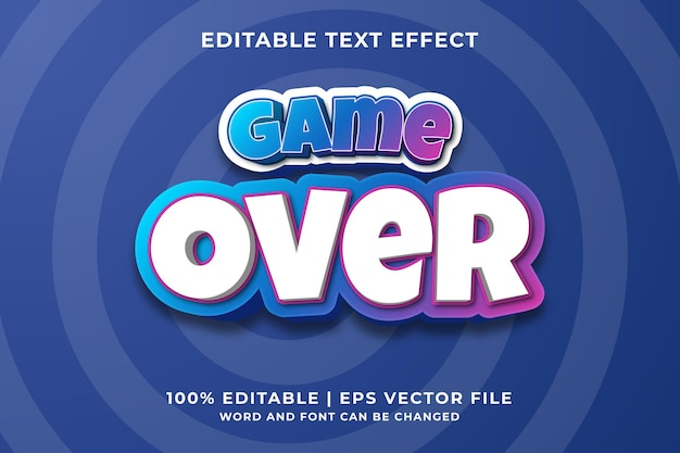 Effetto di testo modificabile - game over 3d in stile cartone animato modello premium vector