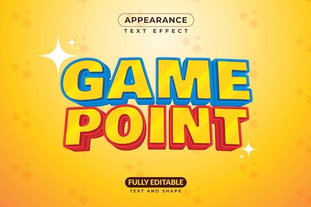 Effetto di testo modificabile stile effetto punto di gioco