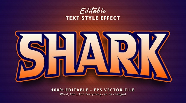 Effetto testo modificabile, testo gaming shark con effetto stile gioco logo