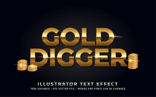 Effetto di testo modificabile, illustrazioni in stile cercatore d'oro