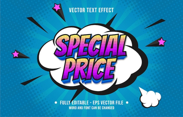 Effetto di testo modificabile in stile fumetto pop art con gradiente di colore per il modello di effetto del carattere dei media digitali e di stampa