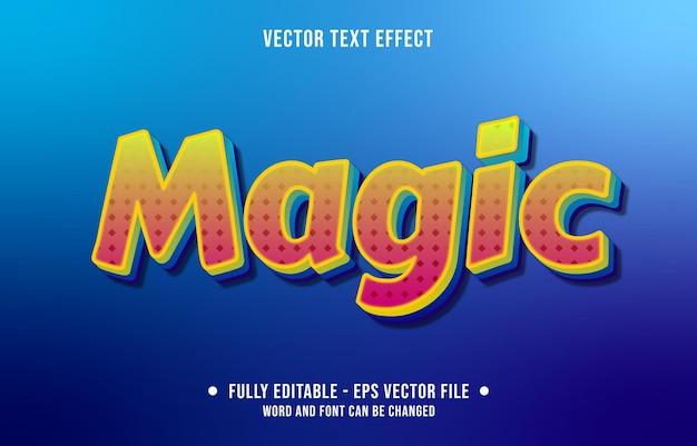 Effetto di testo modificabile gradiente di stile magico giallo e rosso