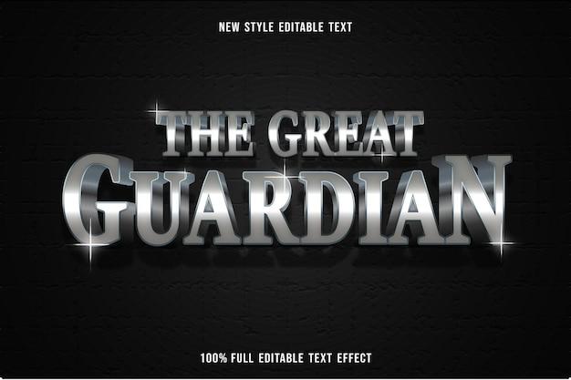 Testo modificabile effetto il grande guardiano in argento e nero