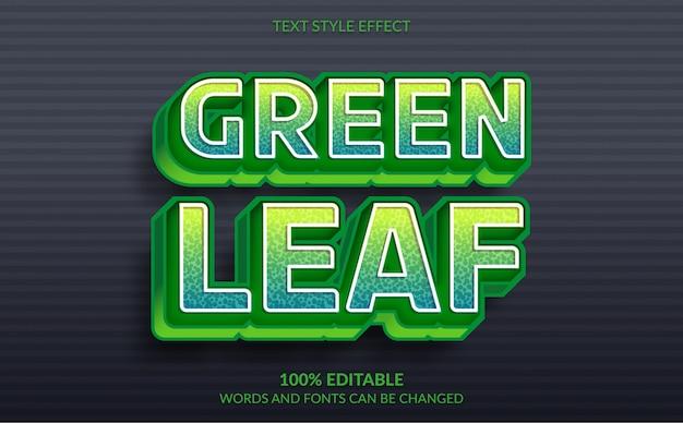 Effetto di testo modificabile, stile di testo foglia verde