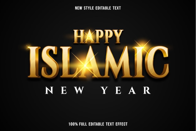 Effetto testo modificabile felice anno nuovo islamico colore oro e bianco