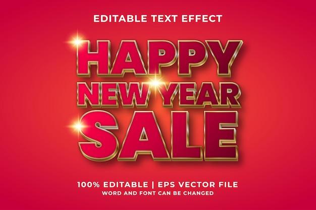 Effetto di testo modificabile - vettore premium di stile del modello di vendita di felice anno nuovo