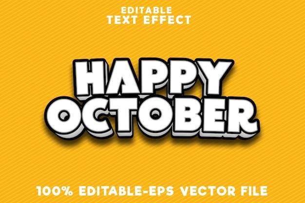 Effetto testo modificabile felice ottobre con un semplice stile fumetto