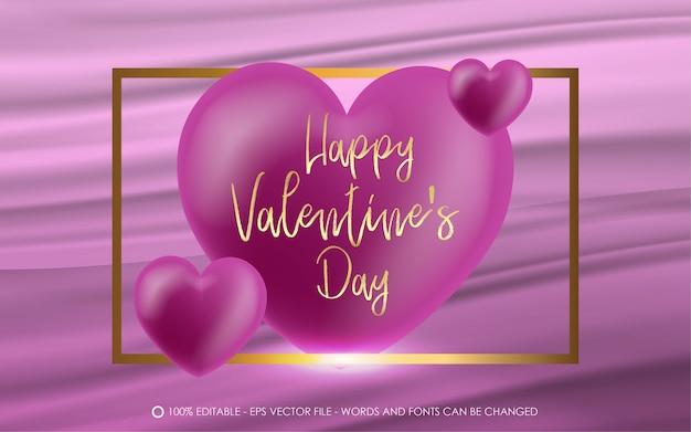 Effetto di testo modificabile illustrazioni in stile san valentino felice con oro quadrato e amore