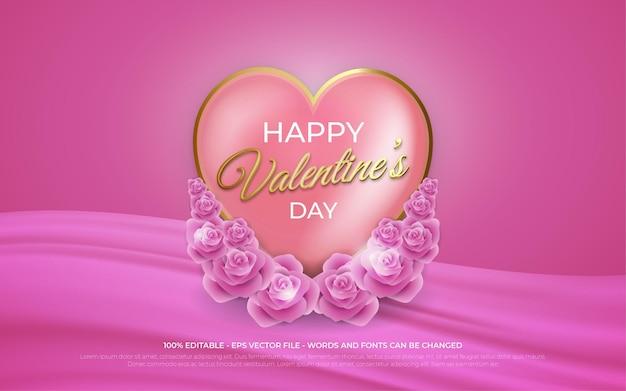 Effetto di testo modificabile, illustrazioni in stile oro happy valentine's day