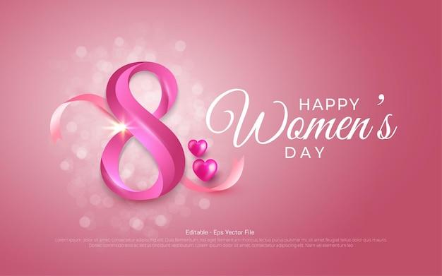 Effetto di testo modificabile, festa della donna felice 8 marzo