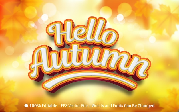 Effetto di testo modificabile, illustrazioni in stile hello autumn
