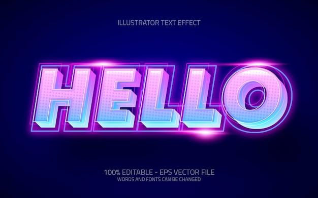 Effetto di testo modificabile, ciao illustrazioni in stile neon