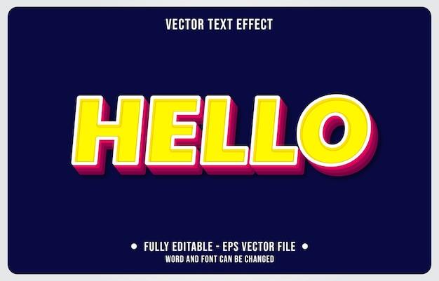 Effetto di testo modificabile ciao giallo stile moderno