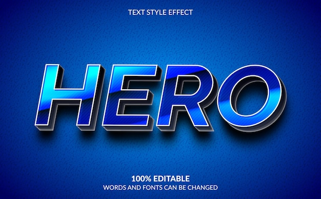 Effetto testo modificabile, stile testo eroe