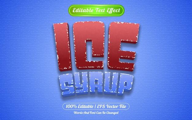 Stile del modello di sciroppo di ghiaccio effetto testo modificabile
