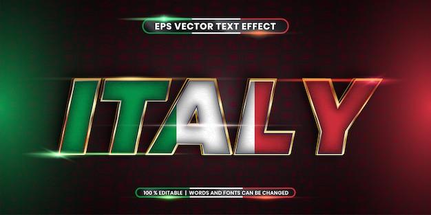 Effetto di testo modificabile, parola italia con bandiera nazionale