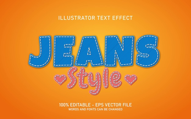 Effetto di testo modificabile, illustrazioni in stile jeans