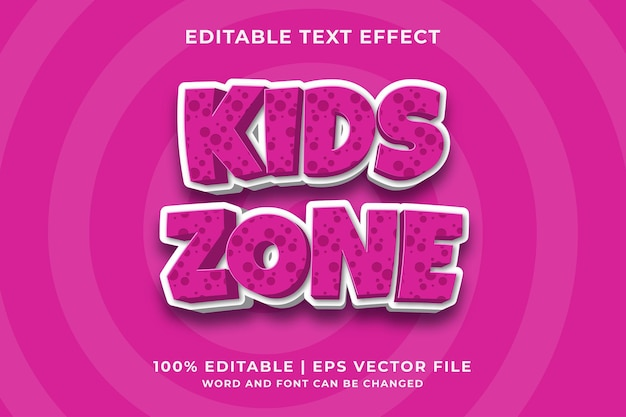 Effetto testo modificabile - kids zone cartoon template style premium vector
