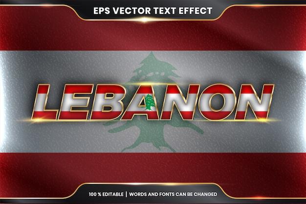 Effetto di testo modificabile - libano con la sua bandiera nazionale