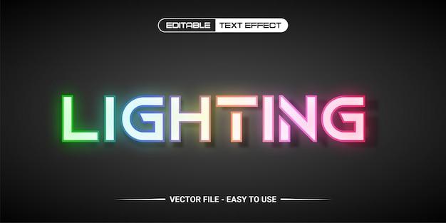 Design dell'illuminazione con effetto testo modificabile premium