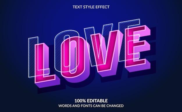 Effetto di testo modificabile, stile di testo d'amore