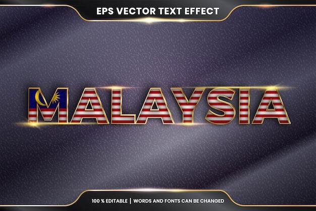 Effetto di testo modificabile - malesia con la sua bandiera nazionale